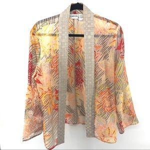 Chico's Silk Floral Kimono Open Sheer Cardigan